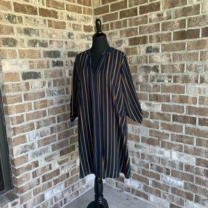 Always Indigo Navy/Yellow Striped Dress Size 2X